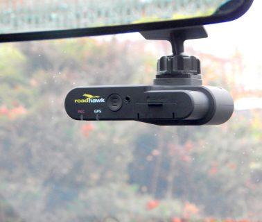RoadHawk DC-2 dash cam mounted in vehicle