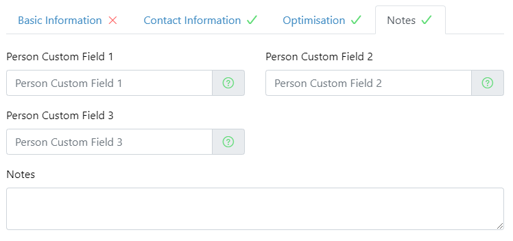New custom fields for Vehicles and People